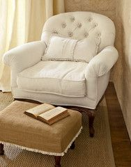 I love this burlap ottoman cover and the combo of the two Burlap Ottoman, Chair And Ottoman, Ottoman Cover, Ottoman Slipcover, Tufted Chair, Bedroom Chair, White Armchair, Chair Upholstery, Take A Seat