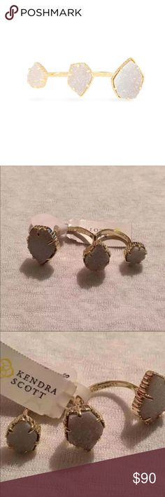 KENDRA SCOTT RING ❤️AUTHENTIC KENDRA SCOTT ❤️Naomi ring  ❤️new never used ❤️gold plated  ❤️iridescent drusy ❤️Size M/L ❤️can be bent to adjust fit ❤️retail $130 ❤️firm price ❤️sorry no holds ❤️sorry no trading  ❤️thanks for stopping by my closet Kendra Scott Jewelry Rings