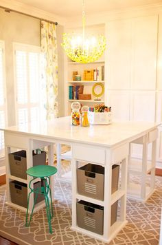 Craft Tables With Storage Attempting To Organize Your Creativity Diy Craft Table diy craft storage table Craft Table Ikea, Craft Room Tables, Ikea Craft Room, Ikea Dining Table, Dining Nook, Craft Rooms, Diy Storage Table, Craft Tables With Storage, Diy Table