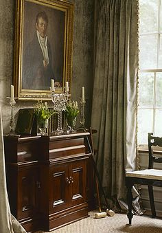 Such a gorgeous mossy/olive green.  Jackye Lanham, Atlanta.  Walls upholstered in velvet.  Southern Accents Magazine.