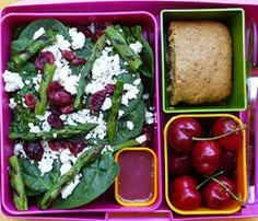 Spinach salad with grilled asparagus, raspberry viniagrette, peach bread and cherries