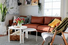 Love that cognac-colored sofa! Cognac Leather Sofa, Couch, Living Room, Furniture, Home Decor, Settee, Decoration Home, Sofa, Room Decor