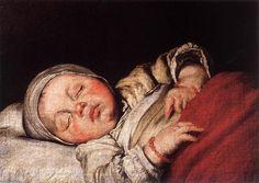 """Schlafendes Kind (2)"" Bernardo Strozzi - öl auf leinwand - 35 x 48 cm - (Residenzgalerie (Salzburg, Austria)) #SchlaffendesKind #ölgemälde"