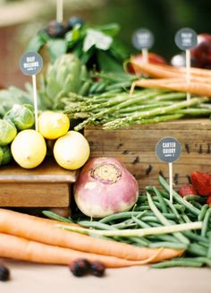 Farm fresh seating display: http://www.stylemepretty.com/2014/03/05/gourmet-wedding-details-for-the-food-obsessed/