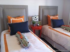 I'm loving the Navy, and Orange Color scheme for Jr.'s big boy room ideas. From St. George Parade of Homes