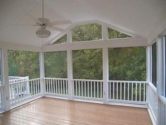 Low maintenance screened #porch with AZEK Building Products flooring and white vinyl ceiling.