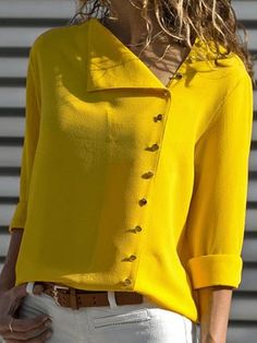 Cotton-blend Shift Buttoned Casual Blouses & Shirt – linenlooks Source by friedhelmmehrin outfit Bluse Outfit, Red Turtleneck, Orange Blouse, Stylish Shirts, Casual Shirts, Casual Outfits, Blouse Designs, Shirt Blouses, Blouses For Women