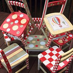 Hand painted child Wooden chairs - sillitas pintadas