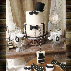 Monsieur moustache! Baby shower cake.