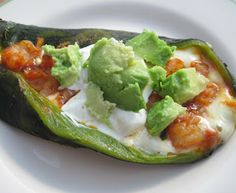 Chiles Rellenos Acapulco - These are stuffed with a shrimp mixture - cheesy, savory and spicy!  / Luscious Low Carb