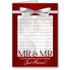 Gay Wedding Reception   Red Mr. & Mr. Gay Wedding Reception Invitation Greeting Card