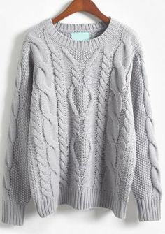 Shop Grey Long Sleeve Batwing Cable Knit Sweater online. Sheinside offers Grey Long Sleeve Batwing Cable Knit Sweater