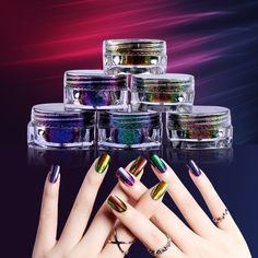 Chameleon Flakes Nail Powder 1 Box 0.2g Bling Nail Flecks Powder Dust Shimmer Nail Art Glitter Dust Galaxy Decorations