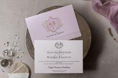Wedding Davetiye 8410 Lilac Wedding Invitations, Wedding Invitation Design, Turkish Wedding, Gold Foil Print, Custom Envelopes, Letterpress Printing, Wedding Cards, Bridal Shower, Marriage