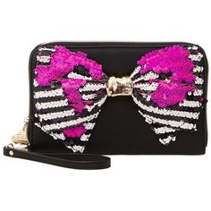 Betsey Johnson Bow-Lesque Sequin Large Wallet Heels ($75) ❤ liked on Polyvore featuring bags, wallets, strap wallet, striped wallet, bow bag, betsey johnson wallet and flip wallet