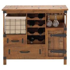 """Bring rustic-chic style to your home bar or dining room with this handsome wood wine cabinet, showcasing a stemware rack, 2 drawers, and storage space for up to 8 of your favorite vintages.     Product: Wine cabinetConstruction Material: Wood, metal and cottonColor: Natural, black and ivoryFeatures:  Two drawersOne door One pull-out wire basket Removable lining Holds up to eight wine bottlesStemware rack  Dimensions: 32"""" H x 35"""" W x 14"""" D"""