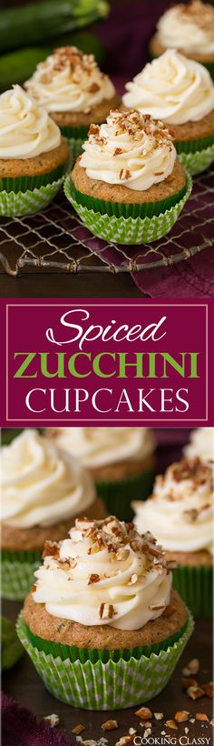 Spiced Zucchini Cupcakes with Cream Cheese Frosting - if you like carrot cake or pumpkin cake you'll love these! Soft, moist and perfectly tender and the combo of the spices in the cupcake paired with the cream cheese frosting is dreamy!