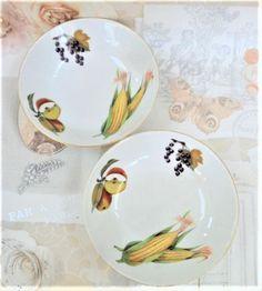 Royal Worcester Dessert Bowls Pair Evesham Pattern Vintage Porcelain Oven  To Table Ware