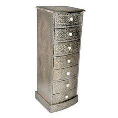 Embossed-White-Metal-7-Drawer-Tallboy-1 Sheesham Wood, Drawers, Hall Cupboard, Furniture, Metal, Indian Furniture, Furniture Making, White Metal, Metal Furniture
