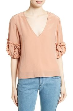 ruffle sleeve silk top by See By Chloe. Ruffled tufts add whimsical volume to the elbow-length sleeves of this beautifully draped silk top dyed the perfect s...