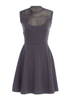 Skater dress with contrast mesh