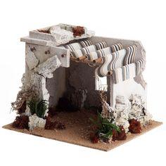 Venta Cabaña árabe para el belén: Cabaña árabe para el belén. Tiene las cortinas de tela, musgo verdadero y madera. Apta para estatuillas de 10-12-14 cm.
