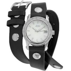 Just Bling Women's Starlight Black Leather Wrap Watch