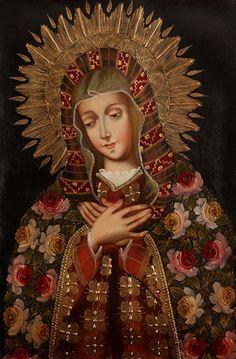 Madonna~Cuzco Peru Folk Art Santos Original Oil Painting On Canvas