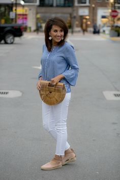 Chambray Shirt and White Jeans for Spring