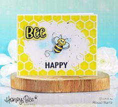Bee Happy with HoneyBee Stamps Handmade Card Making, Ranger Ink, Bee Happy, Distress Ink, I Card, Stencils, Stamps, Sequins, Painting
