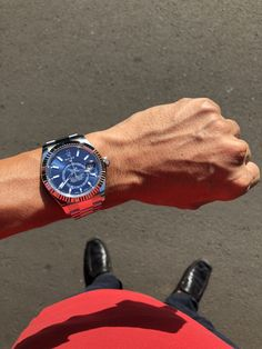 Rolex Sky Dweller also looks perfectly fine with casual attire, such as raspberry Lacoste.