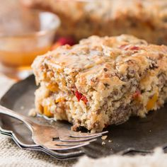 Savory breakfasts tend to always be the same thing, but we've started making this Southern sausage breakfast cake with maple butter sauce and it's delicious! Savory Breakfast, Breakfast Cake, Sausage Breakfast, Breakfast Dishes, Breakfast Recipes, Breakfast Ideas, Vegetarian Breakfast, Breakfast Burritos, Cake Recipes For Beginners