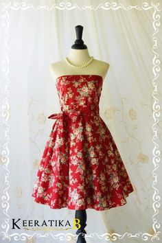 My Lady III Spring Summer Sundress Floral Strapless Tea Dress Floral Party Dresses Red Floral Bridesmaid Dress Strapless Party Dress XS-XL