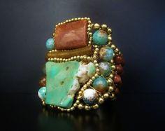 Tribal Cuff Bracelet  Artisan Jewelry Handcrafted by SharonaNissan, $420.00