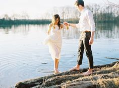 A dip in a lake never hurt anyone, right? This adorable pair was captured by Tracy Burch Photography in a sweet engagement session made for quiet sunrises! . photography: Tracy Burch Photography / film processing: PhotoVision Printing  / captured on Portra 400 with Contax 645  http://whitewren.com/romantic-woodland-lakeside-engagement/?utm_campaign=coschedule&utm_source=pinterest&utm_medium=The%20White%20Wren%20&utm_content=Romantic%20Woodland%20Lakeside%20Engagement%3A%20Reina%20and%20Adam