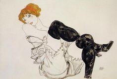 Egon Schiele Woman in Black Stockings 1913