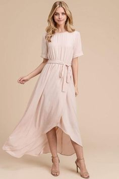 woven dress round neckline mock-wrap skirt short sleeve and self-tie belt fabric type: polyester made in USA Modest Dresses, Cute Dresses, Casual Dresses, Bridesmaid Dresses, Orange Bridesmaids, Blush Pink Maxi Dress, Dusty Rose Dress, Chic Dress, Boho Dress