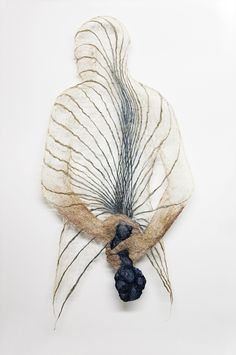 Finnish artist Raija Jokinencreates sculptural bodies out of flax which attempt to reveal the complicated relationship between the mind and body. Webs of flowers, veins, and roots cover her textile torsos, shape-shifting between plant and human forms. Jokinen invites the audience to get lost in the