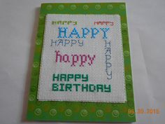 cross stitch birthday card available in my etsy shop - debbywebbyscards