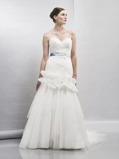 Princess Sweetheart Tulle Satin Sweep Train White Criss Cross Wedding Dresses
