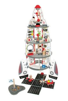 Hape Discovery Space Center (6943478004252) Explore space with this 37 piece spaceship set 4 level spaceship is designed like actual space shuttles Some easy assembly is required Hape finishes are all non-toxic, child safe, and of the highest quality For ages 3 - 5 years