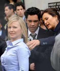 Kelli looks like she has the heeby geebies! So funny! On the SVU set with Danny Pino and Mariska Haritay