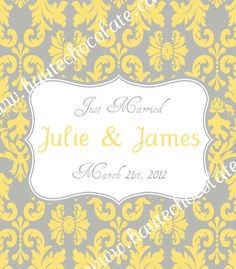 Customized Wine Bottle Label Grey & Yellow by HauteChocolateFavors, $15.00