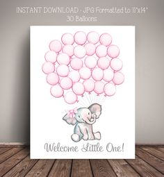 PRINTABLE Instant Download - Watercolor Elephant Baby Shower Guest Book Alternative - 30 Pink Balloons - Digital File Only by MelissaWynneDesigns on Etsy