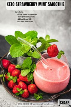 This Strawberry Mint Keto Smoothie Recipe with only 4 ingredients is extra creamy, rich in flavor, nourishing, and super refreshing. Extra versatile Keto Drink that is also Gluten-Free, Low Carb, and Grain-Free perfect for the Summer Party, Valentine's or Mother's Day, or just as a quick and easy Keto Breakfast.
