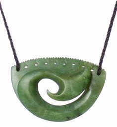 NZ Greenstone Stylized Fish Hook Necklace : Mountain Jade New Zealand