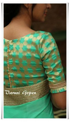 Royal Look With Brocade Blouse Design – The Handmade Crafts - blouse designs Brocade Blouse Designs, Stylish Blouse Design, Saree Blouse Neck Designs, Fancy Blouse Designs, Designer Blouse Patterns, Kurta Designs, Saree Blouse Patterns, Design Of Blouse, Pattern Blouses For Sarees