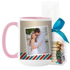 Stamped In Love Mug, Pink, with Ghirardelli Assorted Squares, 15 oz, Beige