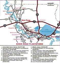 Map of River Road Plantations in Louisiana Louisiana Map, Louisiana Plantations, Texas Travel, Travel Usa, New Orleans Vacation, Nola Vacation, Plantation Homes, Mississippi, Family Travel