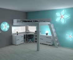 Bunk beds, Loft and suspended beds for the whole family Bedroom Decor For Small Rooms, Bedroom Setup, Bedroom Loft, Build A Loft Bed, Loft Bed Plans, College Loft Beds, Raised Beds Bedroom, Cool Loft Beds, Suspended Bed